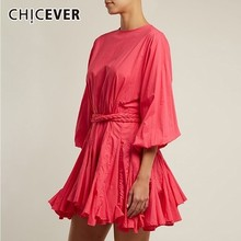 CHICEVER Hit Color Print Dresses Women Long Sleeve O Neck Hi