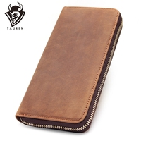 ZIPPER AROUND Genuine Leather Phone Wallet Purse Vintage Long Bifold Card Holder Clutch Male Crazy Horse Leather Wallet For Man