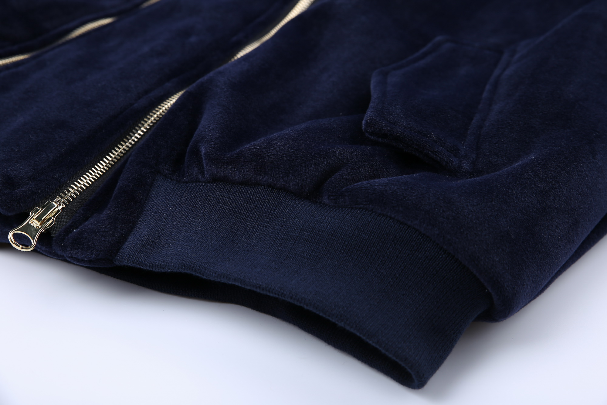 Lanmrem Plein Lâche Printemps À Glissière Navy Qualité Mode Taille Nouveau Blue Métal En Wc83405l Manteau 2019 Fermetures Manches Velours Femmes Veste Haute PwSrPfq