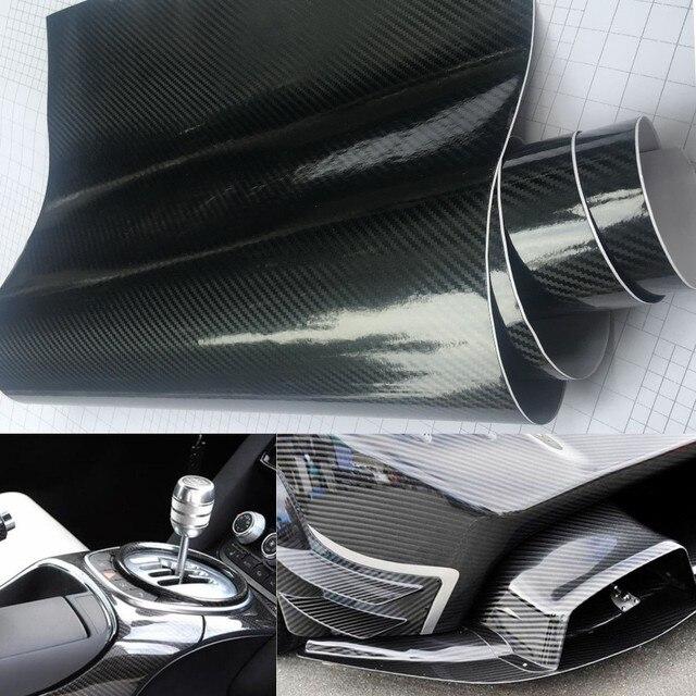 20 cm x 50 cm negro brillante 5d fibra de carbono coche Stying PVC adhesivo vinilo motocicleta tableta pegatinas de embalaje accesorios de Auto