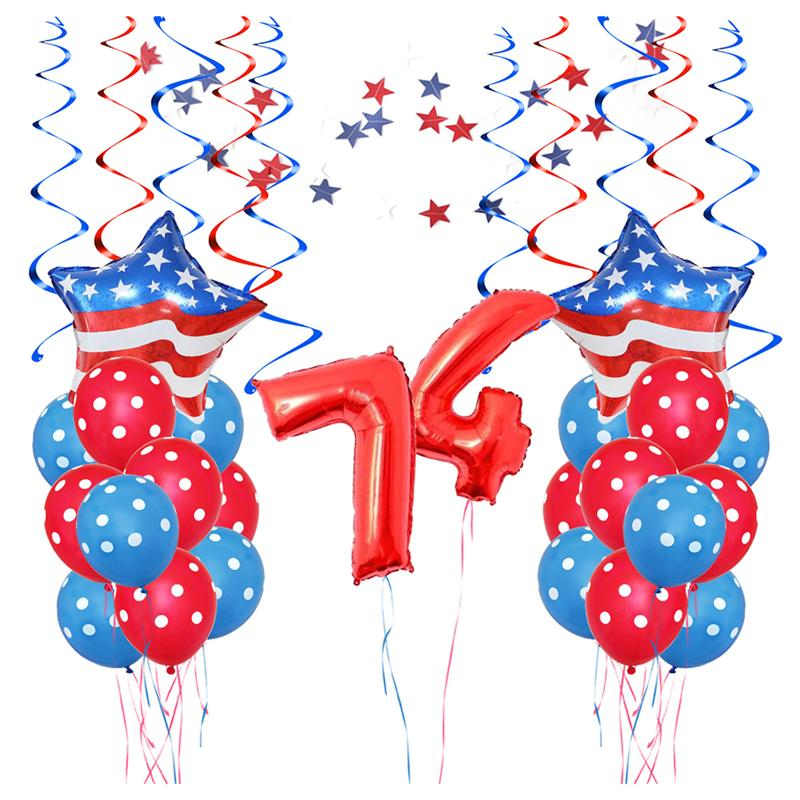 37pcs/Pack American Independence Day Decorative Balloons Set Celebrating Party Decoration Supplies(Red And Blue)