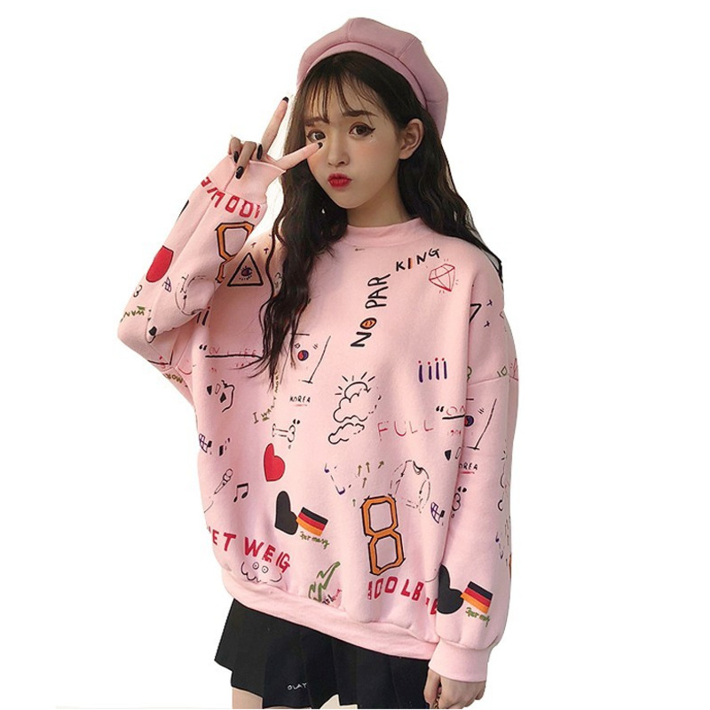 Harajuku Graffiti Printing Sweatshirt Women Sweet Pullover Hoodies Streetwear Casual Fashion Clothes Hipster Autumn Winter Tops