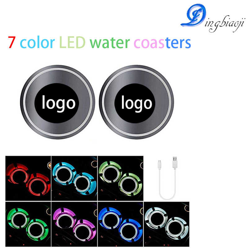 2X Super Cool Changeable 7 Colors  Light 12V  USB Car Headlamp Lights LED Cup Coaster Non-slip Decorative Atmosphere Mat Lights