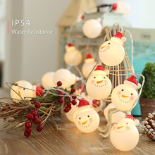 IP54 Wasserdicht Warm Weiß 10 20 LED Schneemann Design Fee String Licht Batterie Powered Betrieben Weihnachten weihnachten Festival Party(China)