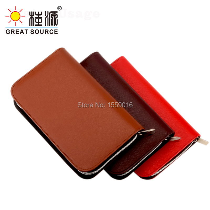 Wallet Padfolio Leather Cover Organizer Binder Portfolio With Zipper For A6 Planner Clear Pen Bag Color Sticker Ruler Gift Set