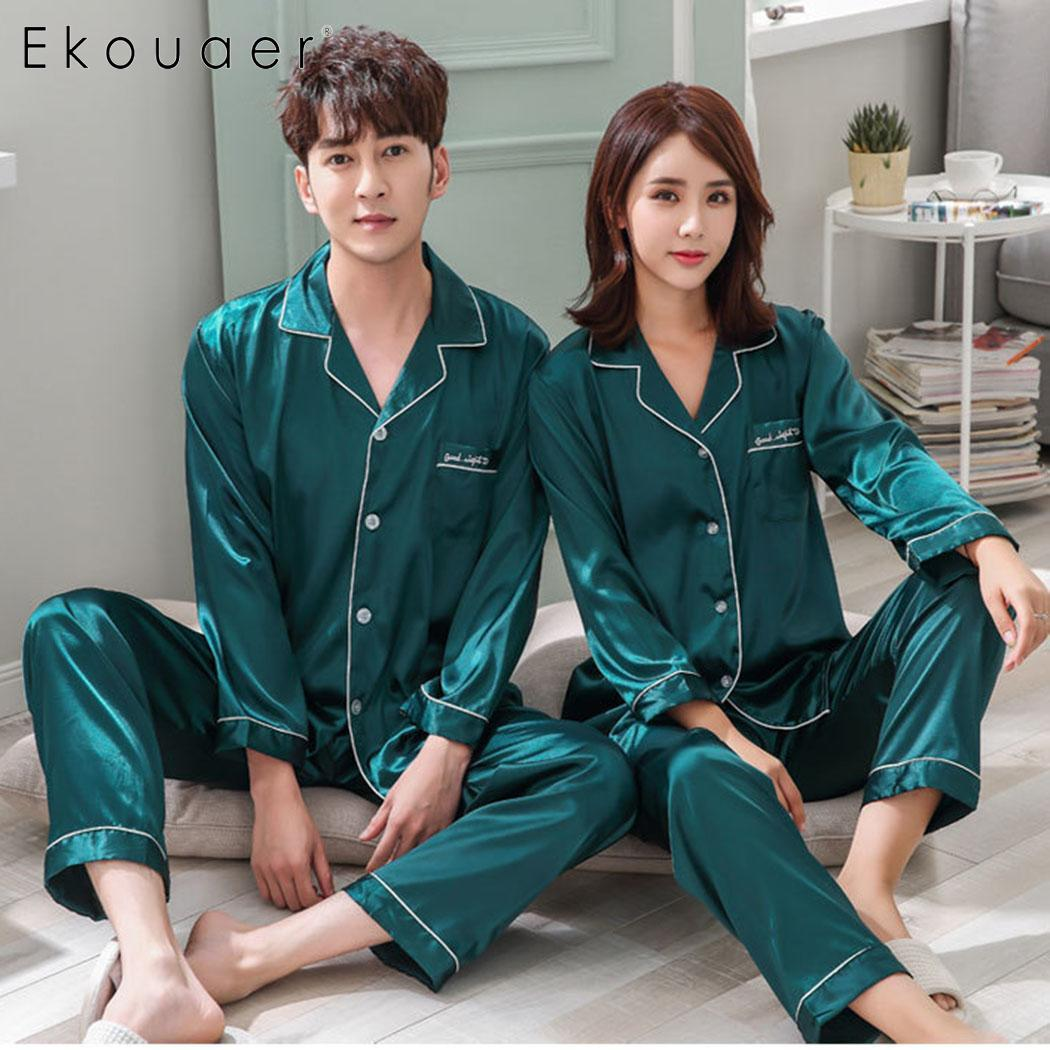 Ekouaer Women Pyjamas Couple Silk Satin   Pajama     Sets   Solid Soft   Pajamas   Women Men Sleepwear   Sets   Pijama Home Clothes