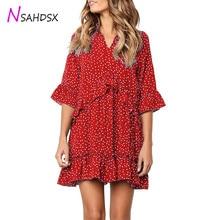 Plus Size Rushed New Women's Dress 2019 Summer Fashion Polka Dot Ruffle V-neck Women Mini Loose Sexy Half Flare Sleeve Dresses
