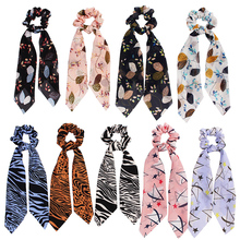 Extra Long Elastic Hair Bands Chiffon Scrunchie Scarf Bow Big Tail Rope Tie Floral Star Ribbon