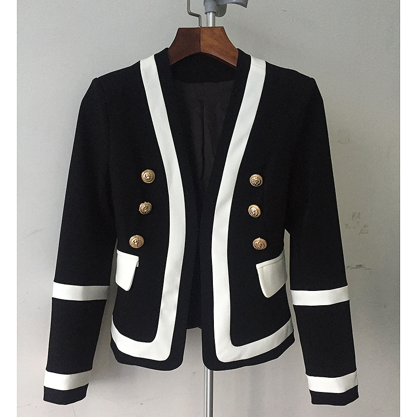 2019 Women Wear All-round Handsome Jacket Metal Double-breasted Black-and-white Collision Color Classic Self-cultivation Suit