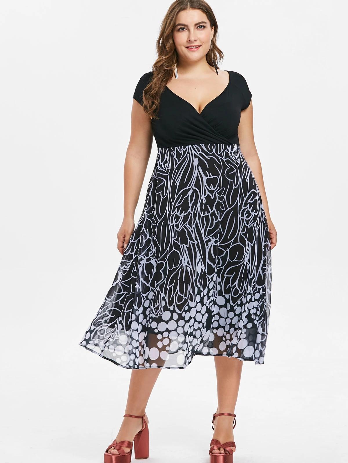 Wipalo Vestido Para Mujer En Tallas Grandes De Talla Grande Vestido De Verano Con Estampado De Linea A Vestidos Bodycon Casual Con Cuello En V Maxi Vestido 2019 Vestidos Aliexpress