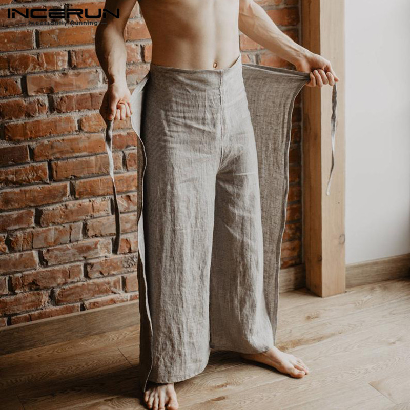 Image 2 - Vintage Men Harem Pant Baggy Wide Legs Loose Fitness Solid Fishermen Trousers Pantalon Hombre Drawstring High Waist Casual Pant-in Wide Leg Pants from Men's Clothing