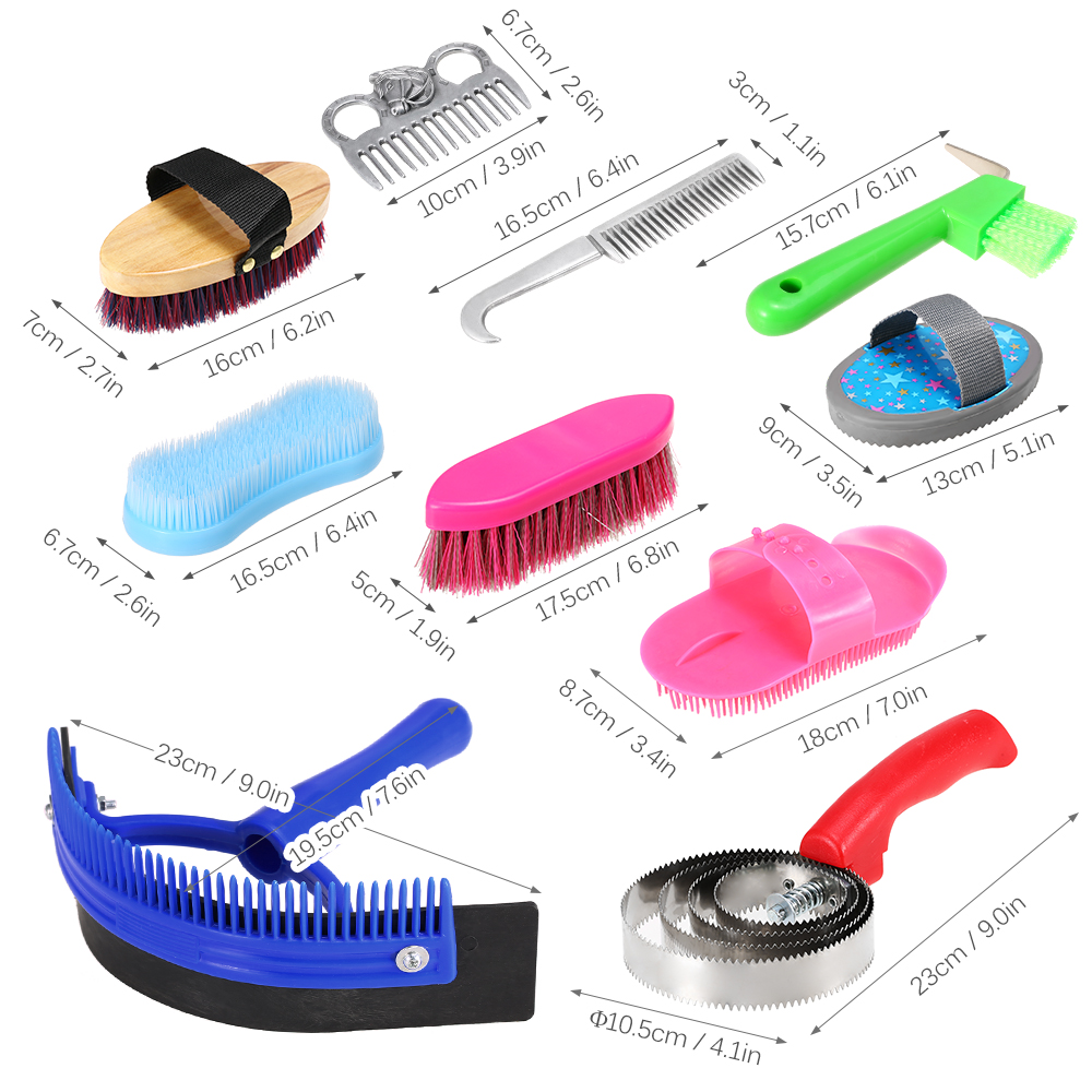 10PCS/Set Horse Grooming Tool Set Cleaning Kit Mane Tail Comb Massage Curry Brush Sweat Scraper Hoof Pick Curry Comb Scrubber