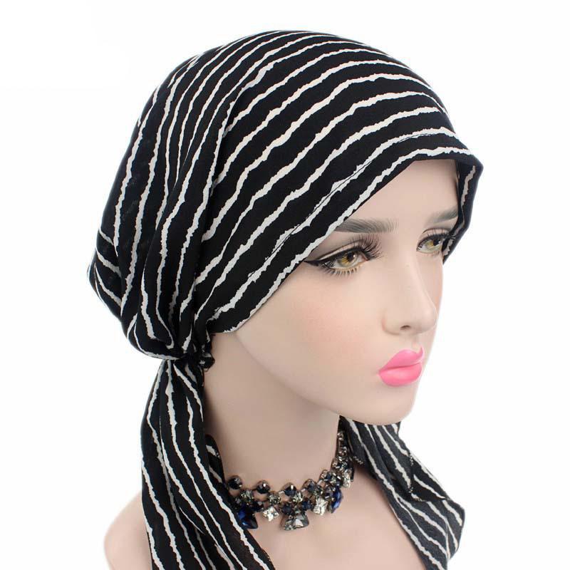 Image 4 - Women Stretch Bonnet Muslim Turban Hats Beanie Skullies Headscarf  Wrap Chemo Lady Bandana Caps Underscarf Islamic Hair Loss CapWomens  Skullies
