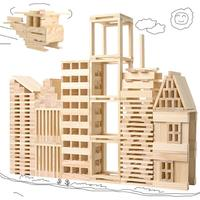 Wooden Construction Building Model Building Blocks Children's Intelligence Building Blocks Toy 100 Wood Board Set Extract Game