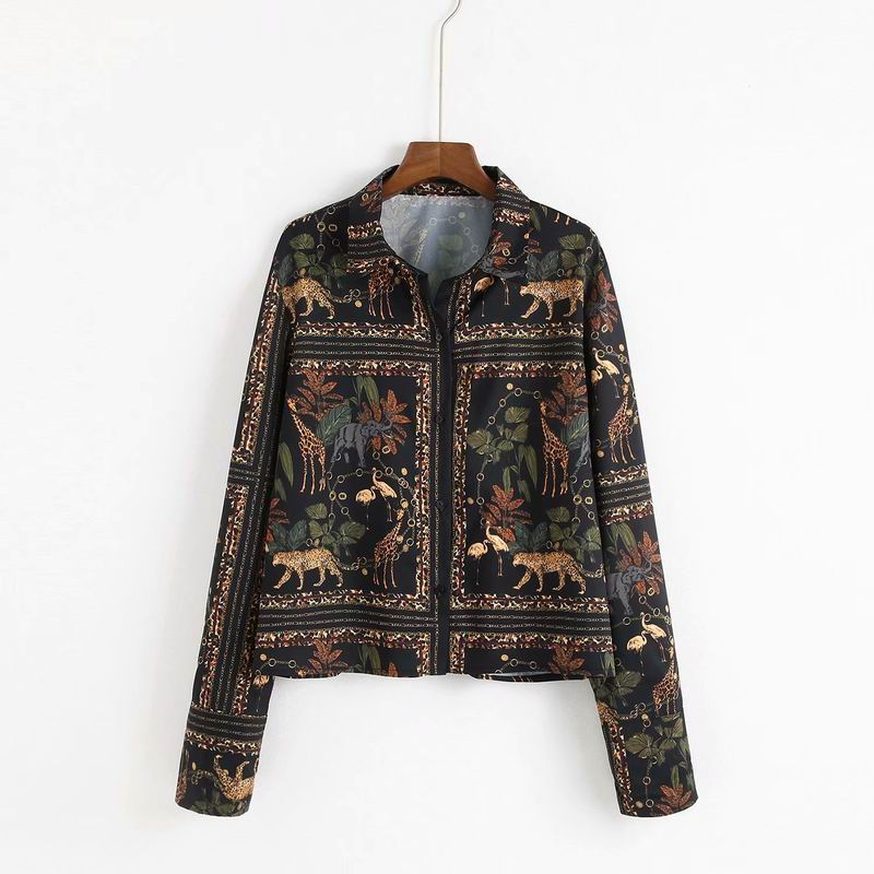 Vintage Women Blouse 2019 Spring New Fashion Animal Floral Pattern Casual Full Sleeve Shirt Feminino Blusa