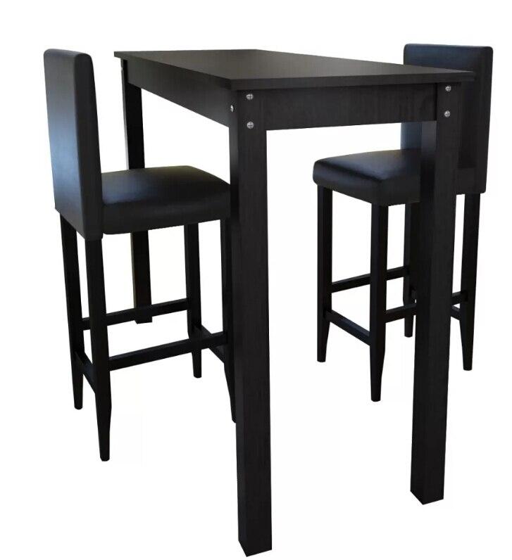 VidaXL черный 1 барный стол и 2 табурета кухонный набор современная элегантная Высококачественная кухонная мебель подходит для маленького дома