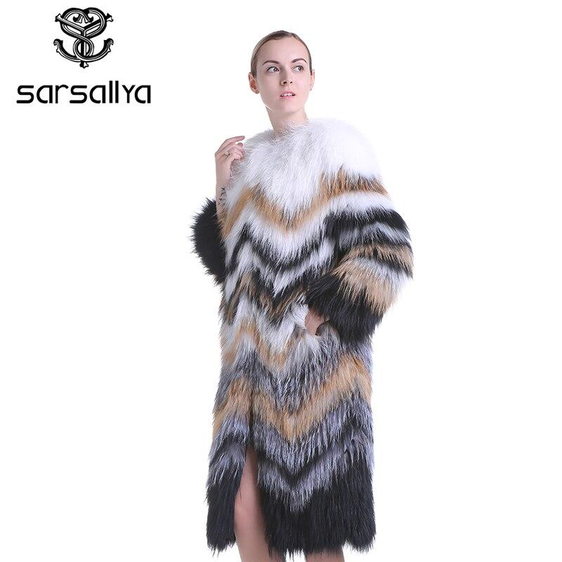 Tricoté Fourrure Laveur De Gilet Renard Chien Manteaux Réel Multi Naturel Raton Femmes Sarsallya Manteau Mode 8qXwt