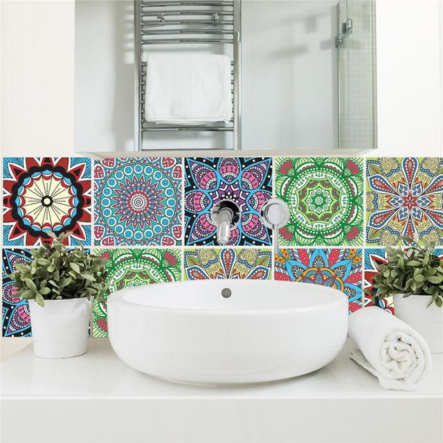 6 stks/pak Marokkaanse Stijl Tegels Sticker PET Waterdichte Zelfklevende Behang Meubels Badkamer DIY Arabische Tegel Sticker 20*20 cm