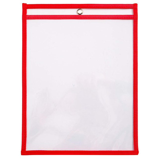hot-10 Dry Erase Pockets, Oversize 9 x 12 Inch Pockets, Perfect Classroom Organization, Reusable Dry Erase Pockets, Teaching S 3