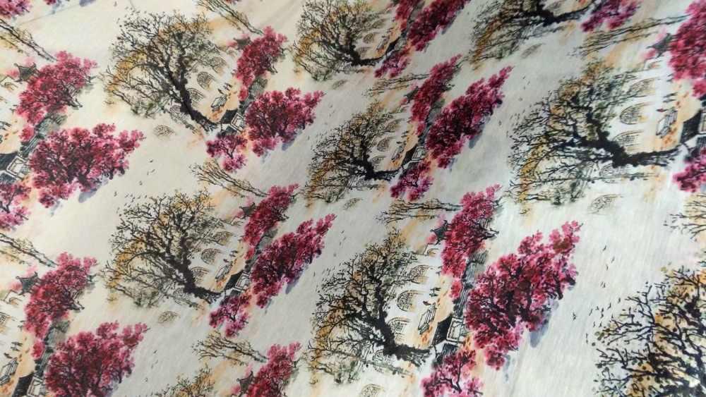 Tela Do Laço Tecido de Linho De seda Tecidos Para Costura Material Tecido Para estofados Cortinas Vestido Blous das folhas de Bordo de chita Japão tissu
