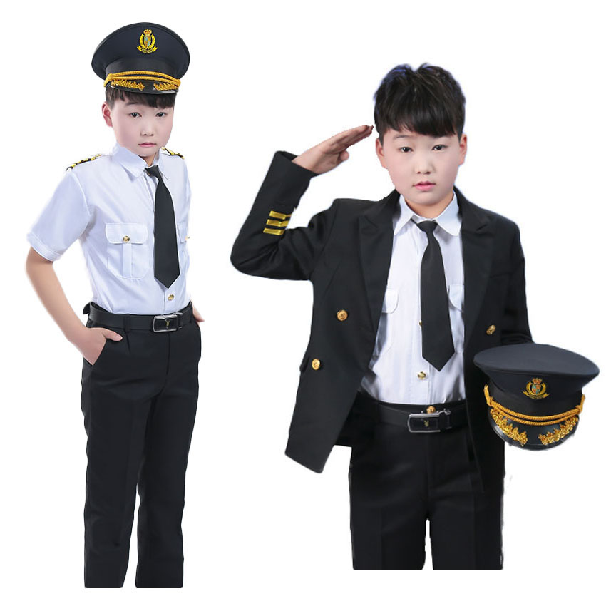 Children Boys Pilot Uniform Cosplay Costumeshalloween Carnival Purim Party Wear Role-play Jacket Uniform for Kids Boys