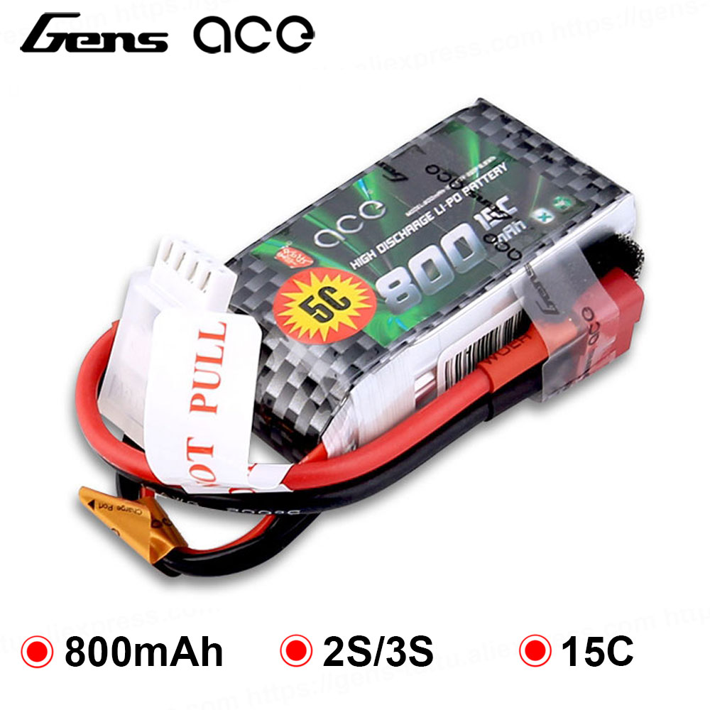 Gens ace <font><b>Lipo</b></font> Battery 7.4V 11.1V <font><b>800mAh</b></font> <font><b>Lipo</b></font> 2S <font><b>3S</b></font> 15C RC Quadcopter T Connector for Fixed Wing 250 Helicopter JST Plug image