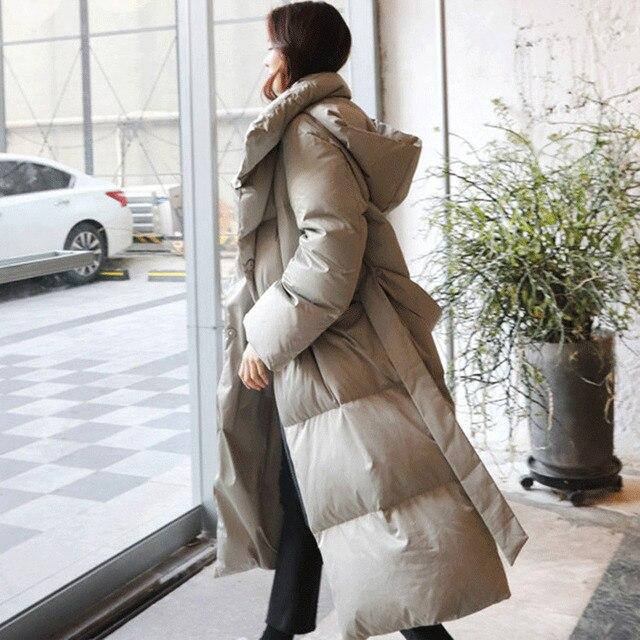 Big Promo LANMREM New Fashion Oversize Long Type Winter Jacket 2018 Female's Thick Cotton Coat Black Gray Jaqueta Feminina YF204
