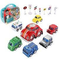 Hot Sales Alloy Car Set Kit Alloy 6 Cars + 1 Cart Map + 7 Road Sign Indicator Toy Vehicles Kids Gifts Box Three Colors Randomly
