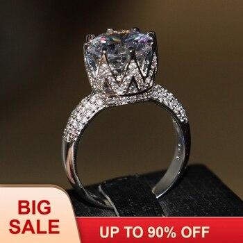 22476de840ce Joyería de lujo 8ct solitario de lujo 925 Plata grande blanco 5A CZ piedras  simuladas boda banda corona anillo para regalo de amante tamaño 5-11