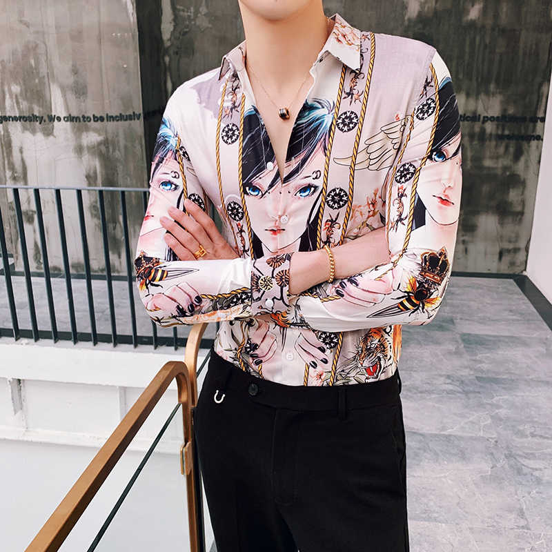 2019 primavera nuevo patrón chica imprimir Camisa barroca Slim Fit Fiesta Club Camisa hombre Camisa Homem hombre Camisa Masculina ropa