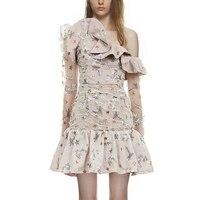 Self Portrait дизайнер 2019 взлетно посадочной полосы платье с открытыми плечами вышивка сладкий печати оборками вечерние мини платье отпуск роско