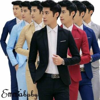 الحلل للرجال 7 ألوان العلامة التجارية 2019 الكورية نمط الرجال الحلل وسترة سليم صالح الصلبة عارضة الدعاوى سترات