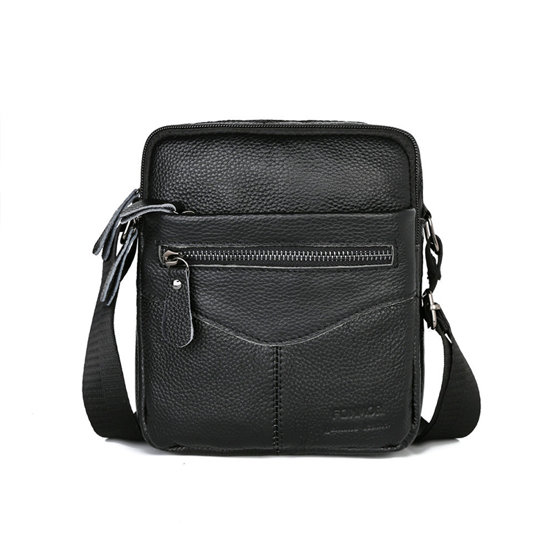 Men Shoulder Bag Genuine Leather Male Cow Leather Messenger Flap Small Shoulder Bags For Mens Solid Black Crossbody Bag