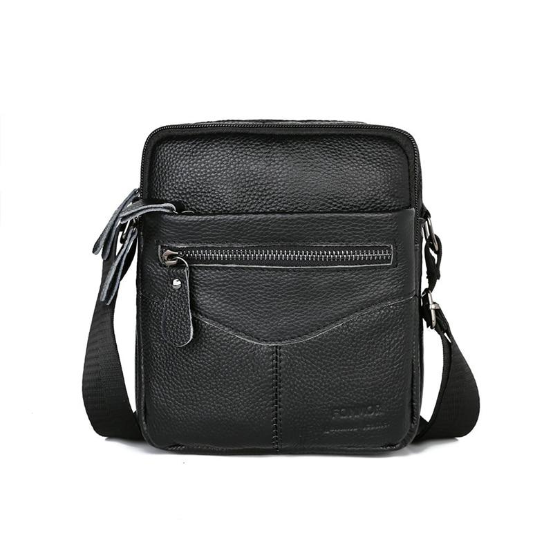 Men Shoulder Bag Genuine Leather Male Cow Leather Messenger Flap Small Shoulder Bags For Mens Solid Black Crossbody BagCrossbody Bags   -