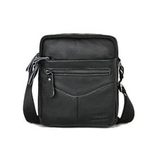 Men Shoulder Bag Genuine Leather Male Cow Leather Messenger Flap Small Shoulder Bags For Mens Solid Black Crossbody Bag