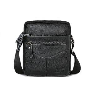 Image 1 - ผู้ชายกระเป๋าหนังวัวหนังMessenger Flapขนาดเล็กกระเป๋าสำหรับบุรุษกระเป๋าCrossbodyสีดำ