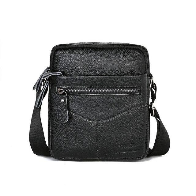ผู้ชายกระเป๋าหนังวัวหนังMessenger Flapขนาดเล็กกระเป๋าสำหรับบุรุษกระเป๋าCrossbodyสีดำ