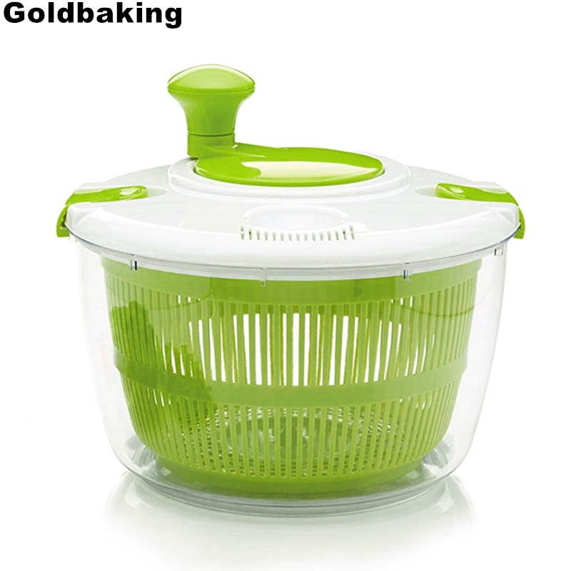 5qt Herb Salad Spinner BPA Free-Manual Lettuce Dryer Vegetable Washer Quick Dry Design Easy Spin for Tastier Salads Locking Lid image