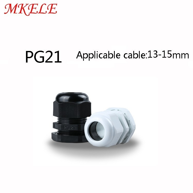 PG21 Black/white Plastic Nylon Waterproof Cable Glands Joints IP68 Connector for 13-15mm 10pcs/lots