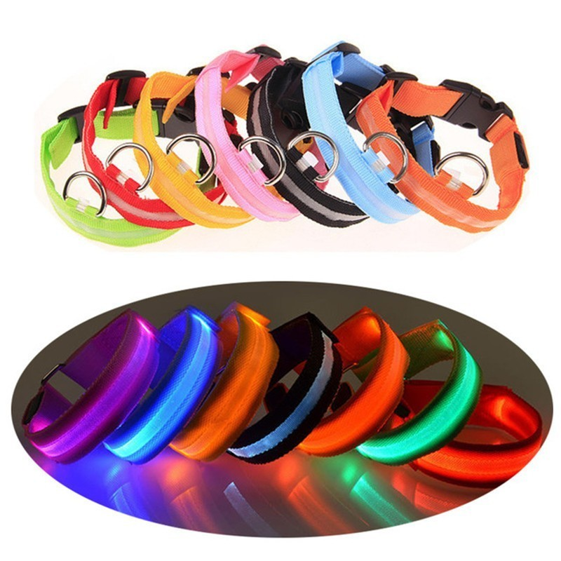 1PC Nylon Pet Dog Collar LED Light Night Safety Glowing Pet Supplies Cat LED Dog Collar Pet Accessories For Small Dogs Light XW.