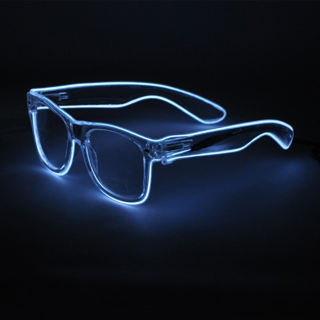 9bbcc1790 Fio EL Acender LED Óculos Rave Sunglasses white Frame Colorido Óculos  Piscando para Festivais DJ Brilhante