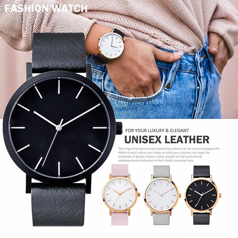 2019 Women Hot Sale Watch Leather Band Stainless Steel Quartz Wristwatch Casual Clock Ladies Minimalsit Watches Relogio Feminino