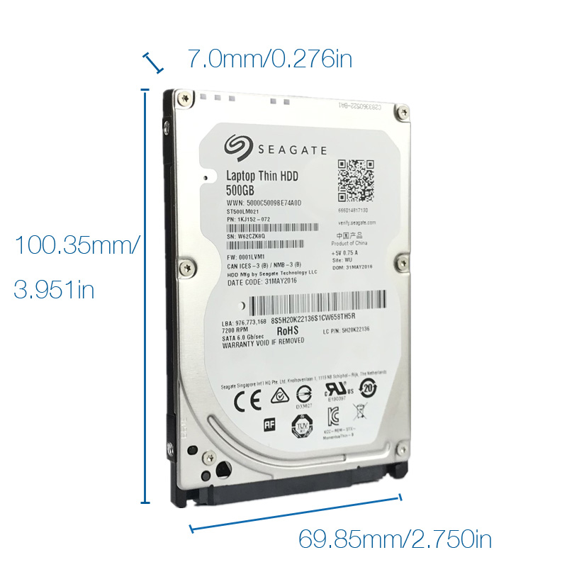 """Seagate 500GB Laptop Hard Drive Disk 7200 RPM 2.5"""" Internal HDD HD 500 GB Harddisk SATA III 6Gb/s 32M Cache 7mm for PS4 Notebook 2"""