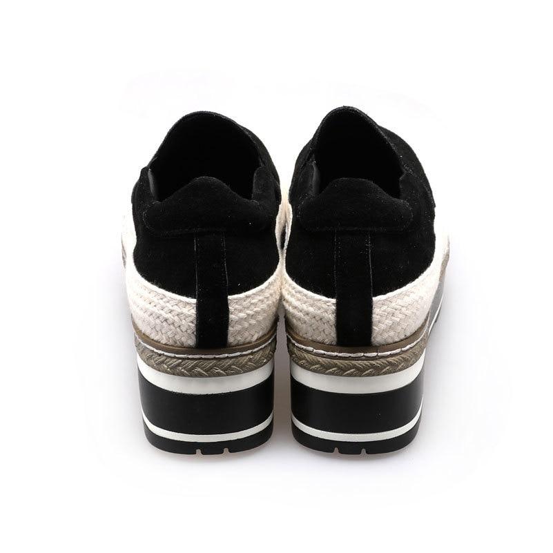 Creeper Cuir Glissent Black Daim Véritable Femmes Appartements forme Femme En Sur Espadrilles Plate Mode Chaussures FzRgg65qtw