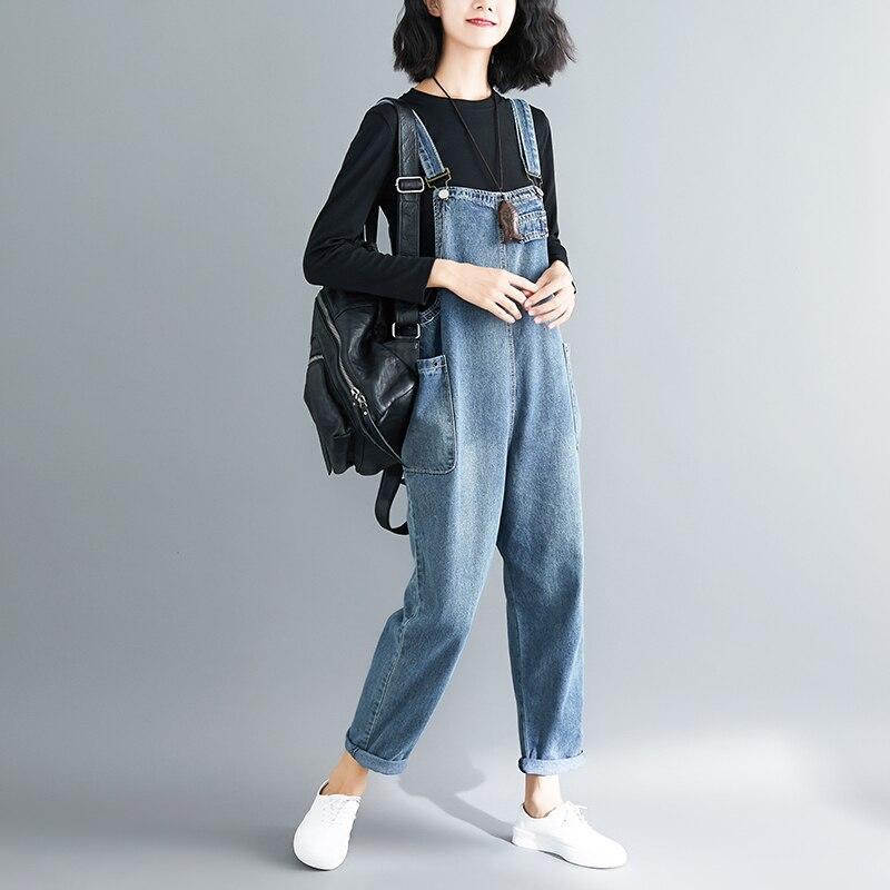 Baggy Jean   Jumpsuit   Women Plus Size Big Pockets Wide Leg Denim Overalls bib Cowboy Pants denim Tooling Suspender harem pants