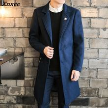 2018 Long Jackets & Coats Single Breasted Casual Mens Wool Blend Jackets Full Winter For Male Wool Overcoat 3XL 4XL Xnxee epaulet design single breasted wool blend jacket