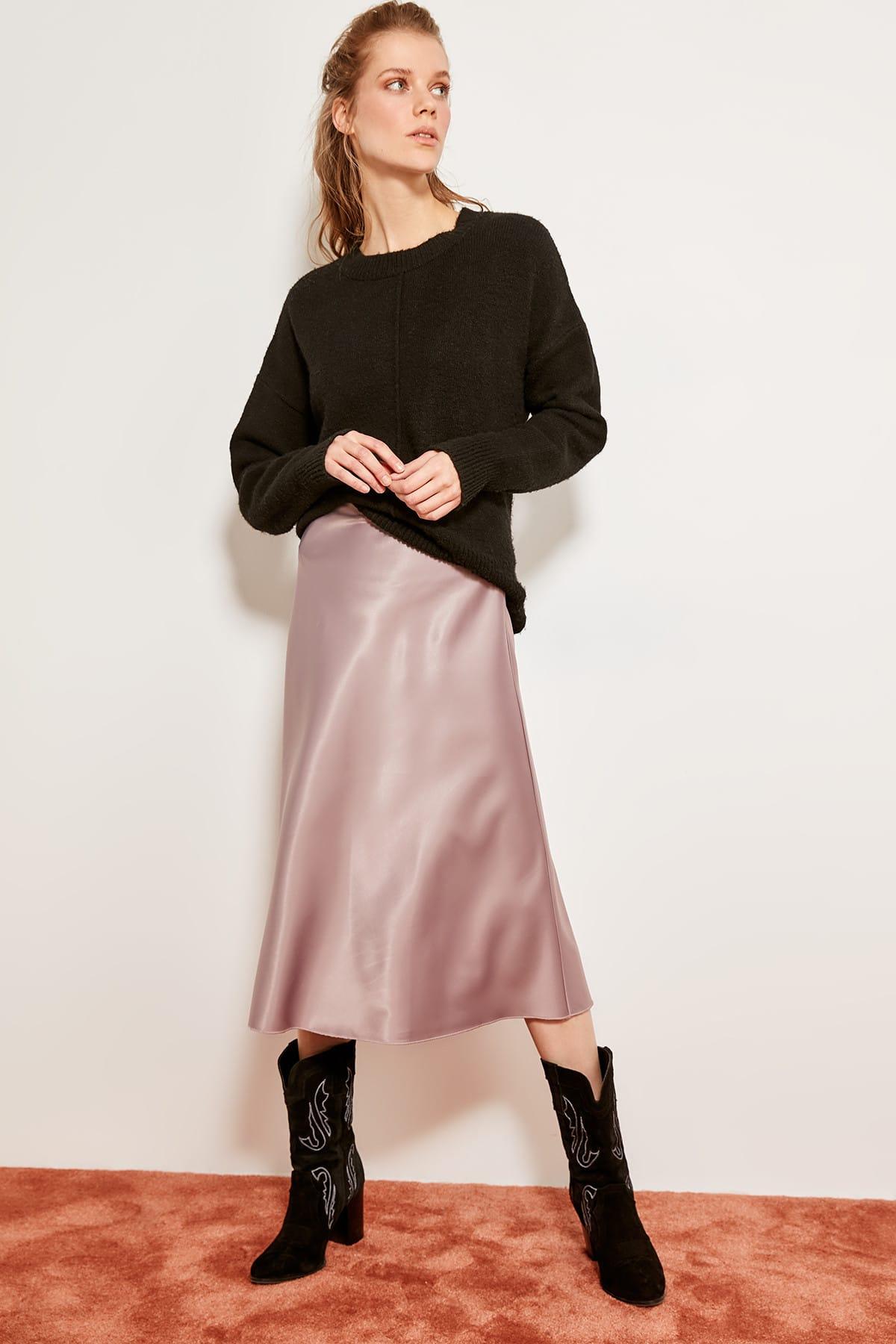 Trendyol Mink Mustard Silk Satin High-waist Women Knee-length Skirt Chic Style TOFSS19WX0013