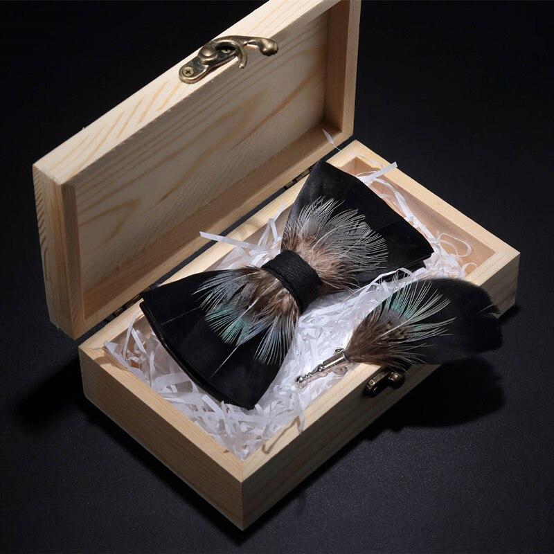 Jemygins Original Schwarz Handmade Feder Fliege Mode Männer Bowtie Brosche Pin Geschenk Natürliche Holz Box Set Für Party Bowtie Bequem Zu Kochen
