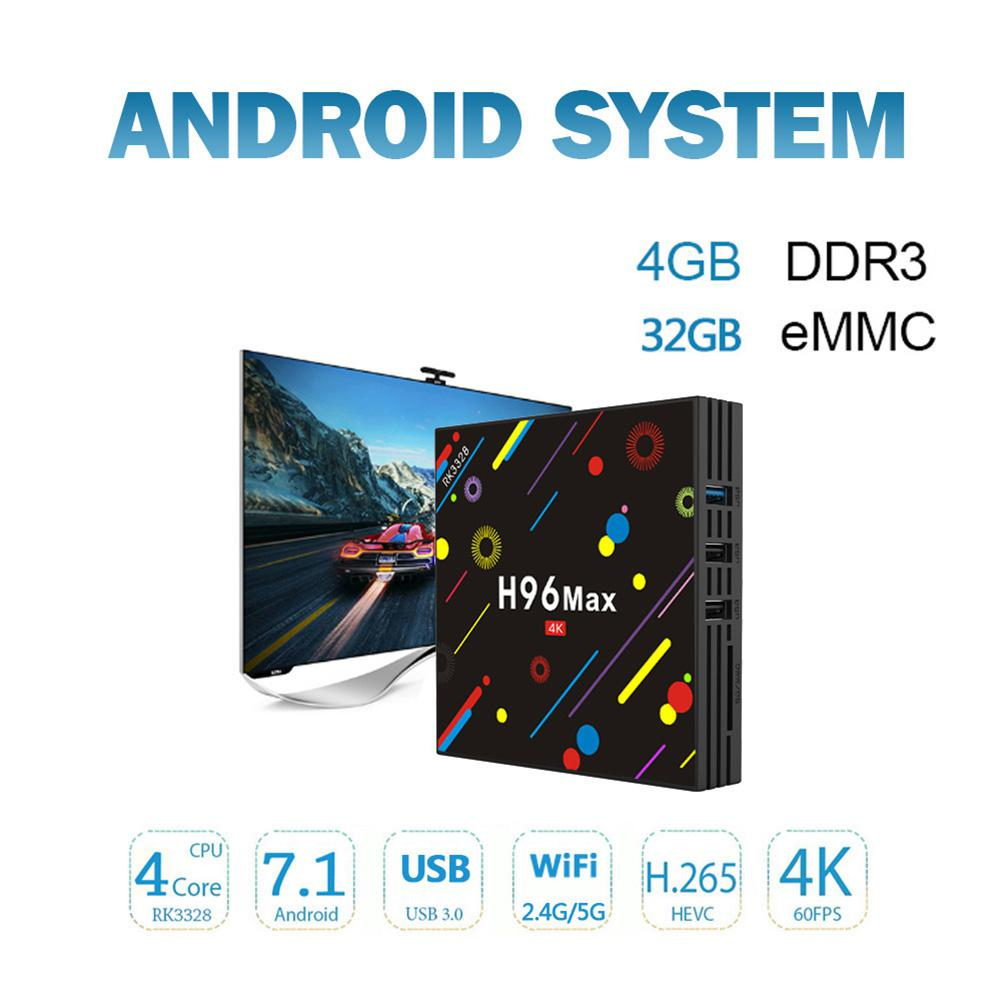 Max H2 4GB DDR4+32GB Smart 4K TV Box Android 7.1.2 RK3328 Quad Core CPU Wifi Set Top Boxes Support 3D 4K Ultra HD TV Box r25
