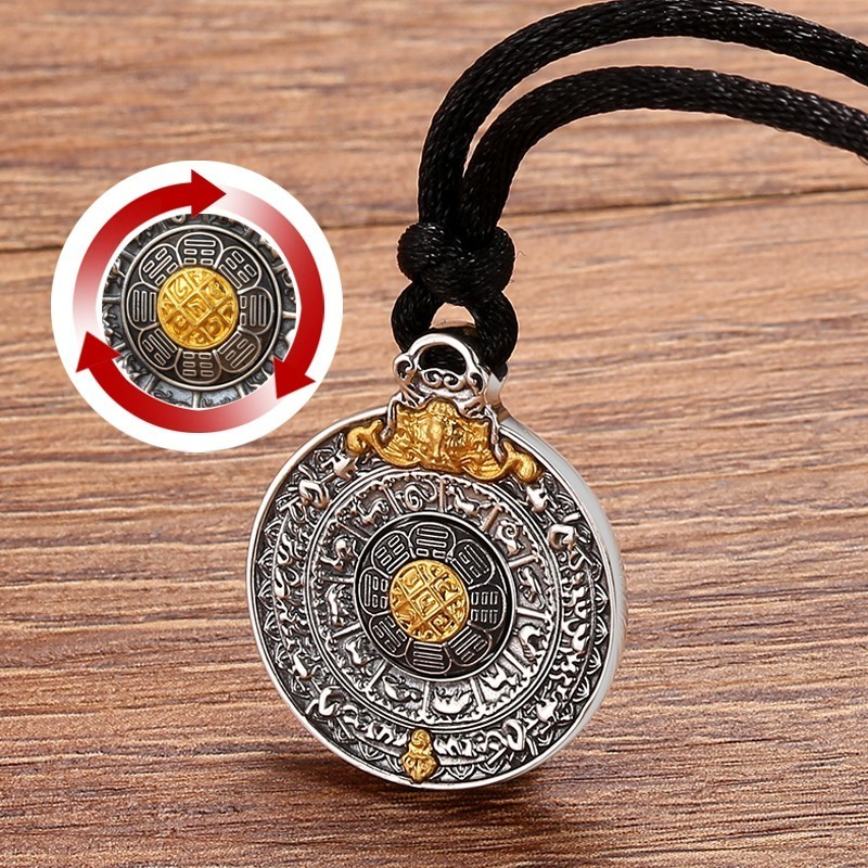 Image 3 - ZABRA Real 24k Gold And 999 Sterling Silver Buddhim Pendant Men Women Good Meaning Gift HipHop Man Vintatge Necklace Jewelry-in Pendants from Jewelry & Accessories